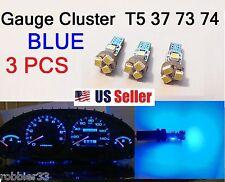 3x T5 5 SMD 3528 LED Gauge Cluster Shifter Light Bulb BLUE  74 w1.2w Honda