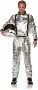 ASTRONAUT JUMPSUIT COSTUME NASA SHUTTLE SHIP MOON SPACE SUIT ADULT MENS SILVER