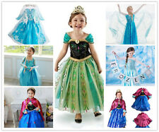 FROZEN Princess Anna Elsa Girl Cosplay Costume Birthday Party Formal Dress 2-8 Y