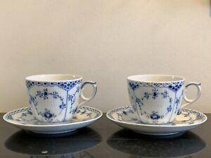 Vintage Royal Copenhagen Blue Fluted Half Lace Oversized Cup and Saucer Set of 2