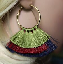 """Tassel Fringe Hoop Earrings Multi Color Layered in Gold Red and Blue 3"""" Long"""