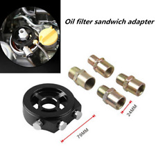 Oil Filter Black Adapter Sandwich Plate Mount Gauge Pressure Temp Sensor 1/8 NPT