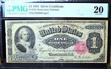 1891 $1 SILVER CERTIFICATE ✪ PMG 20 ✪ FR-222 MARTHA ROSECRANS NEBEKER ◢TRUSTED◣