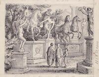um 1880 Antike Altertum Rom Statue antiquity Roman art Zeichnung drawing
