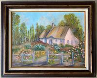 NONI Original Country Garden Cottage Landscape Oil Painting Signed Framed