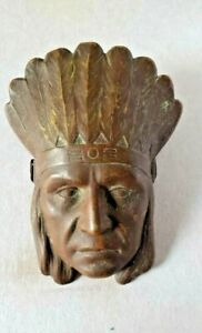 ANTIQUE BRASS ADVERTISING PAPER CLIP in INDIAN FACE FORM with HEADRESS