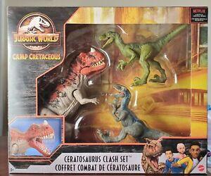 Jurassic World Camp Cretaceous Ceratosaurus + 2 Velociraptor Clash Set Figures
