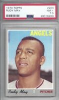 1970 Topps baseball card #203 Rudy May, California Angels graded PSA 7.5