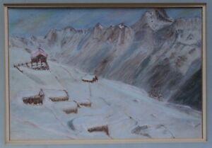 ROCKY MOUNTAIN LANDSCAPE. Pastel on board. 1950.