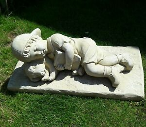 Boy & Puppy Laying Down  > Latex mould To Make Garden Ornament Concrete