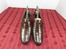 Enzo Angiolini Brown Leather Split Toe Vintage Buckle Heels Shoes Size 8.5 M