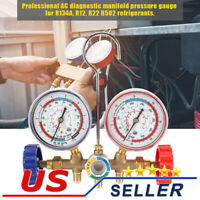 AC Diagnostic Manifold Freon Gauge Set for R12, R22, R502 Refrigerants Service