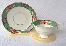 Konigszelt Germany Green/Gold.Floral Tea Cup & Saucer  289