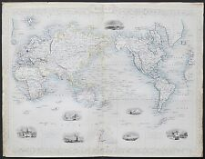 c1854 WORLD ON MERCATOR'S PROJECTION Genuine Antique Map by Rapkin FREE SHIPPING