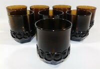 8 Tiffin Franciscan Madeira Glass Smoke Brown Double Old Fashioned Tumbler 4""