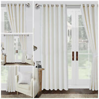 White Heavy Jacquard Ready Made Thick Eyelet/Ring Top Lined Window Curtains Cleo