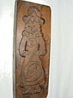 VINTAGE WOODEN BISCUIT MAKING MOLD MOULD POSSIBLY OF A CLOWN OR A GIRL