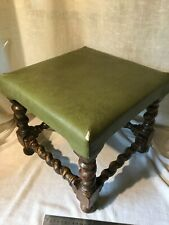 Antique Vintage Small Wooden Foot Stool With Green Leather Effect Top .