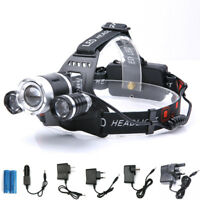Zoomable 30000 Lumens 3X XML T6 LED Headlamp Head Light Torch Lamp 18650 Battery