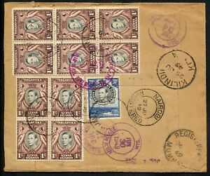 KUT KENYA 1949 KGVI REGISTERED COVER KILINDINI TO USA.SPECTACULAR FRANCKING.A931