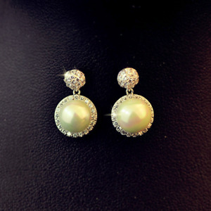 Pearl Drop Earrings Gold Plated Silver Crystal Freshwater Pearl 925 Silver Post