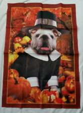 Thanksgiving Autumn Pug Dog Yard Banner Willabee & Ward Cloth Poster 40 x 28