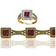 Ruby Diamond Ring Matching Tennis Bracelet Set 14k Yellow Gold over 925 SS