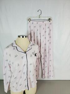 Laura Ashley Pink Westie Scottie Dog Long Sleeve Pajama 2 Piece Set Size Large