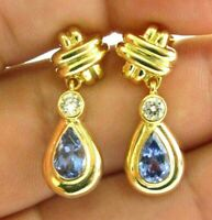 Pear Shape Tanzanite & Diamond Drop Earrings 14kt Yellow Gold 2.10Ct + .34CT