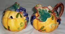 Fitz and Floyd Pumpkin Gourd Creamer & Sugar Bowl Thanksgiving Harvest Banquet
