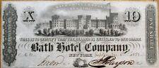 'Bath Hotel Company' 1853 Banknote Look-A-Like Stock Certificate - New York NY