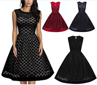 Women's Vintage Polka Dot Formal Cocktail Evening Party Swing Retro Gala Dress
