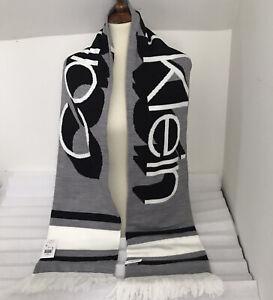 Calvin Klein Mens Black Gray Woven Scarf Color Block Logo Fringes Acrylic