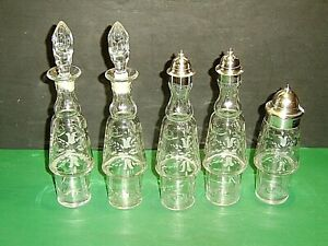 5 EAPG Crystal Oil & Vinegar Shakers & Jar Castor Bottles Cut Flowers Thumbprint