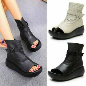 Goth Womens Genuine Leather Gladiator Sandals High Platform Creepers Boots shoes