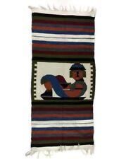 "Woven Peru Decorative Figure Blanket Throw Wall Decor 25.5"" x 57"" Tribal Man"