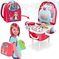 Girls Vanity Set Portable Makeup Backpack Pretend Play Toys Make Up Toddler