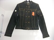 Sonneti Denim Jacket Stretchy Fitted Biker Style With Badges Size 10 Black