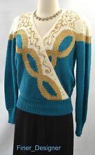 Dana Scott ugly Christmas fuzzy sweater knit top gold bead multi V SZ S NEW VTG