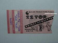 Zz Top 1980 Concert Ticket Stub Rochester War Memorial Expect No Quarter Rare