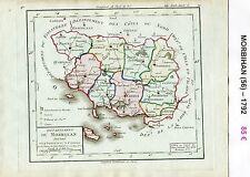 Dépt 56 - XVIII ème Carte du Morbihan Superbe Gravure Cuivre Aquarellée 1792