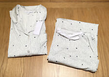 The White Company Jersey Moon & Star Pyjama Set, White / Grey, Size Medium - NWT