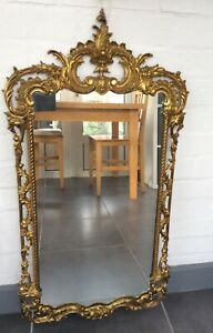 Large vintage wall mirror gold frame French Chateau Baroque-style ornate heavy