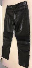 RAYVEN BLACK LEATHER PADDED BIKER TROUSERS LADIES SIZE 32