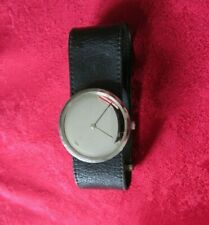 Vivianna Torun-Bulow for Georg Jensen Vintage Mirror Watch Black Strap Working