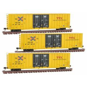 N Scale - MICRO-TRAINS LINE 993 01 850 TTX - RAILBOX 60' High Cube Boxcar 3 Pack