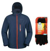 MW Mens Navy Blue Brisk Extreme Waterproof Jacket Coat with Gloves Size L