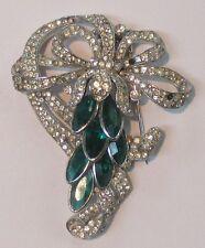 Trifari Crown Large Fur Clip Pin  Marquis cut Emerald Green Rhinestone 1930s