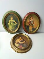 Lot of 3 Vintage Plastic Oval Framed Pictures Made In Italy Victorian