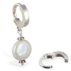 TummyToys Sterling Silver Navel Ring with Custom Coin Pearl Drop Charm[TT-69003]